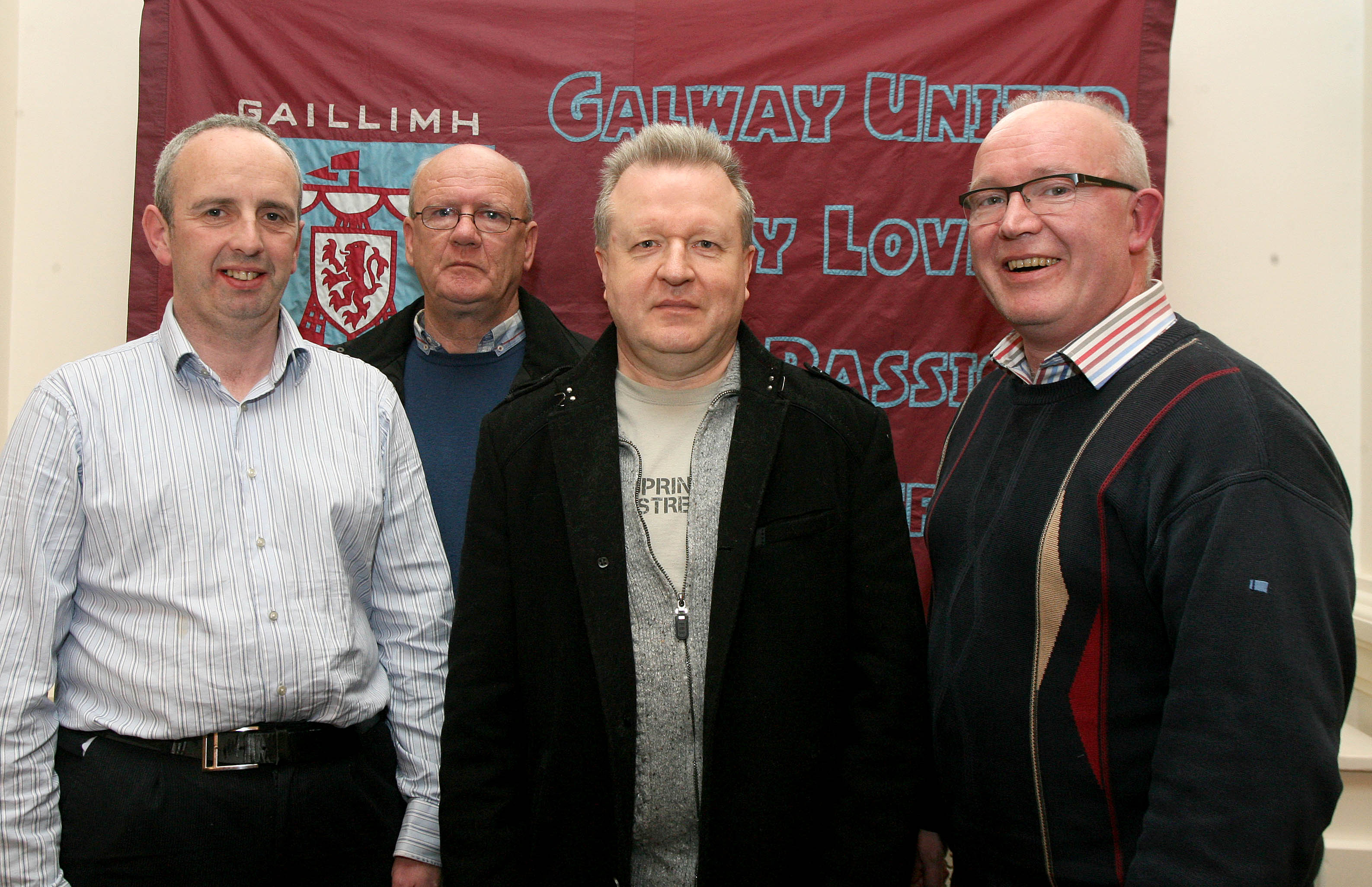 Ronan Coleman, Jim McDermott, Tommy Shields and Seán Dunleavy, all from the Galway United Supporters Trust, at the launch of the Galway Soccer Co-op supporting Galway United at Hotel Meyrick.