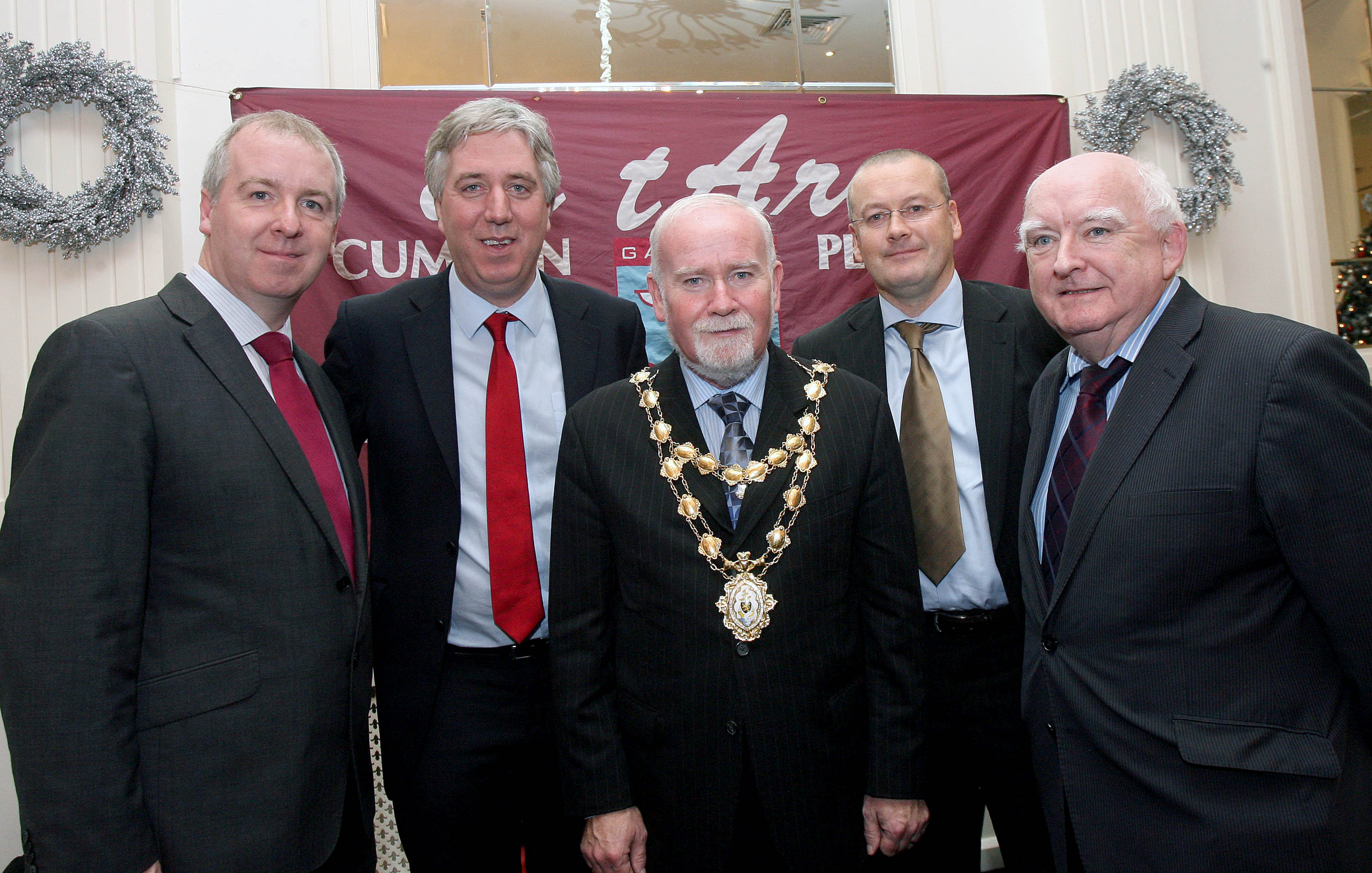 Deputy Brian Walsh, TD, JohnDelaney, CEO, Football Association of Ireland, Mayor of Galway, Councillor Donal Lyons, Tommy Dunne, Manager, Galway United and Councillor Declan McDonnell, at the launch of the Galway Soccer Co-op supporting Galway United at Hotel Meyrick.